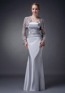 Silver Strapless Appliques Mothers Dress with Lace Jacket