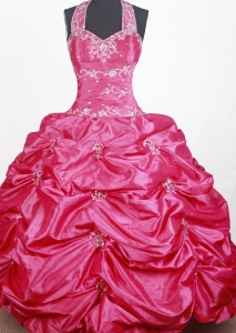 Halter Little Girl Pageant Dress with Embroidery and Beading