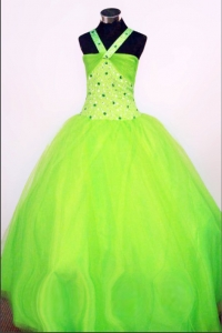 Spring Green Halter Top Little Girl Pageant Dress Beaded