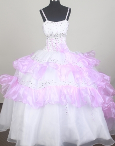 Colorful Ruffled Little Girl Pageant Dresses Beading