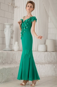 Turquoise Hand Made Flowers Mother of Bride Dress