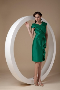 Mothers Dress with Column V-neck Knee-length Taffeta Ruch
