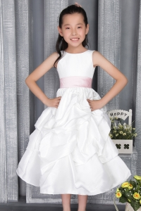 A-line Scoop Ankle-length Taffeta Belt Flower Girl Dress