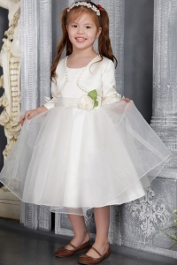 Flattering Organza Sash Flower Girl Dress with Matching Jacket