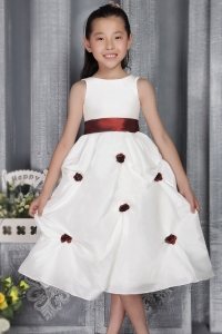 Flower Girl Dress Scoop Tea-length Taffeta Belt Appliques