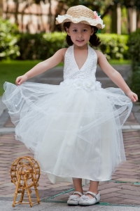 Halter Hand Made Flowers Beading Flower Girl Dress