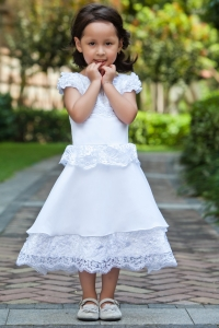 Cap Sleeves Little Flower Girl Dress Taffeta and Lace