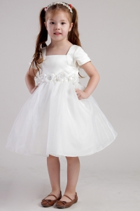 Hand Made Flowers Little Girl Dress Square Knee-length