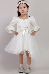 Flower Girl Dresses with Half Sleeves and Hand Made Flowers