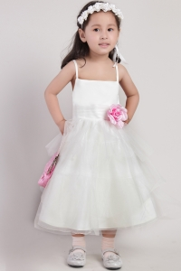 A-line Straps Tea-length Hand Made Flower Little Girl Dress