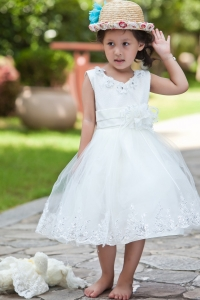 V-neck Tea-length Hand Made Flowers Beading Flower Girl Dress
