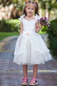 Ball Gown V-neck Flower Girl Dress Hand Made Flowers