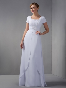 Square Floor-length Beading Mother of the Bride Dress