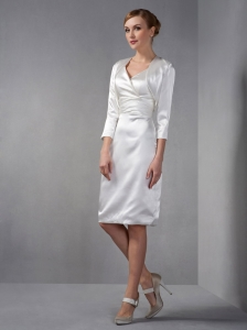 Stylish White V-neck Knee-length Taffeta Ruched Mothers Dress