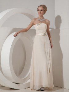 White Bridesmaid Dresses Empire Strapless Chiffon Beading