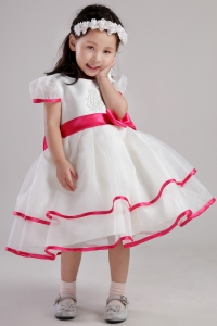 White Little Girl Dress Scoop Tea-length Beading Bowknot