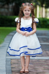 Flower Girl Dress Scoop Knee-length Taffeta and Organza Bow