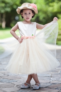 Tea-length Hand Made Flowers Bridesmaid Flower Girl Dress