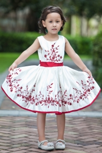 A-line Scoop Tea-length Embroidery Flower Girl Dress