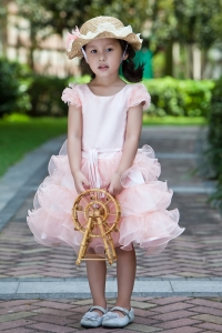 White and Watermelon Red Ruffles Flower Girl Dress