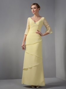 Yellow Column V-neck Ankle-length Chiffon Ruch Mothers Dress
