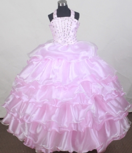Halter Baby Pink Flower Girl Pageant Dress Beaded Ruffles