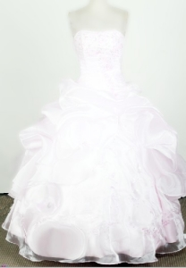 Baby Pink Little Girl Pageant Dresses Beaded Organza