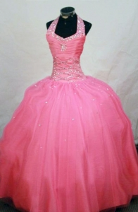 Halter Top Watermelon Beading Little Girl Pageant Dresses