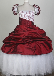 Embroidery Wine and White Flower Girl Pageant Dress