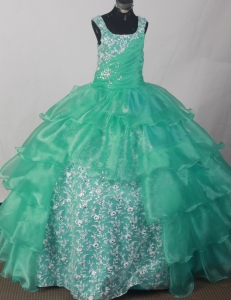 Turquoise Sweetheart Flower Girl Pageant Dress Appliques Ruch