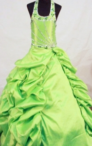 Spring Green Beading Little Girl Pageant Dresses Halter Top