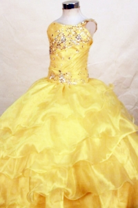 Yellow One Shoulder Beaded Little Girl Pageant Dress Ruffles