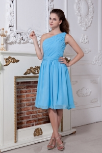 Aqua Blue Bridesmaid Dresses One Shoulder Ruch