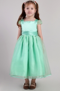 Little Girl Dress Apple Green A-line Square Tea-length Belt