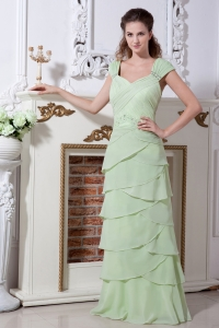 Apple Green Bridesmaid Dresses Beading Rulles Layers
