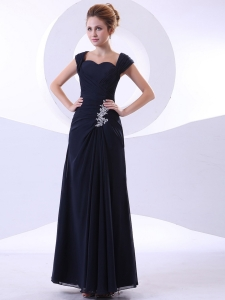 Appliques Bodice Prom Dress Ankle-length Straps Navy Blue