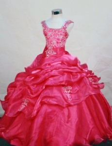 Hot Pink Appliques Wide Straps Little Girl Pageant Dresses