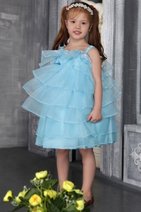 Flower Girl Dress Auqa Straps Knee-length Organza Beading