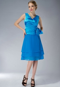 V-neck Baby Blue Mother Of The Bride Dress Ruch Belt
