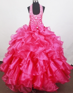 Ruffled Bow Halter Little Girl Pageant Dress Hot Pink