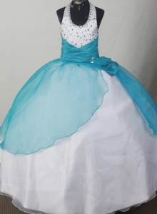 Teal and White Child Pageant Dresses Beaded Halter Neckline