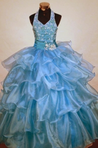 Beaded Halter Little Girl Pageant Dress Light Blue