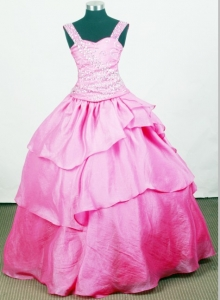 Beaded Straps Little Girl Pageant Dresses Hot Pink