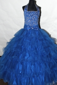 Halter Flower Girl Pageant Dress Beaded and Ruffled Layers