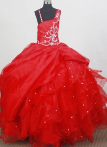 Beading Straps Red Pageant Dresses for Little Girls