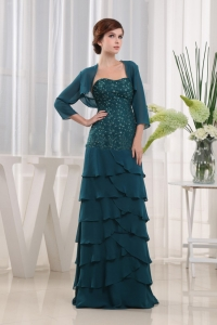 Prom Dress Turquoise Beading Column Strapless Chiffon
