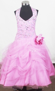 Beading Halter Lil Girl Pageant Dresses Hand Made Flower