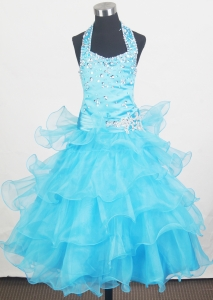 Beaded Halter Little Girl Pageant Dresses Ruffled Aqua Blue
