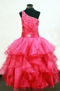 One Shoulder Beading Hot Red Little Girl Pageant Dresses