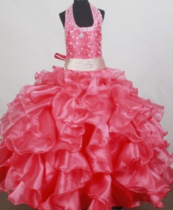 Ruffled Watermelon Red LIL Girl Pageant Dresses Beaded